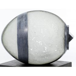 "View 3: Matei Negreanu (Romania, 20th Century) ""Oeuf Verre Souffle Plomb et Bois"" Glass and Metal"