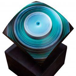 "View 2: Laszlo Lukacsi (Hungarian, b.1961) ""Sea Eye"" Laminated Glass Sculpture"