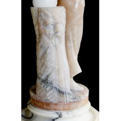 View 3: Neoclassical Style Carved Marble Lamp and Pedestal