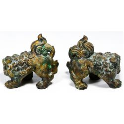 View 2: Asian Style Bronze Fu Dogs