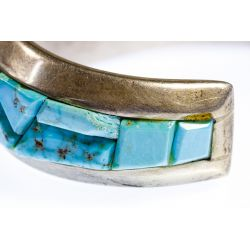 View 3: Michael NaNa Ping Sterling Silver and Turquoise Cuff Bracelet