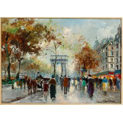 """View 2: Antoine Blanchard (French, 1910-1988) """"Arc de Triomphe"""" Oil on Canvas"""