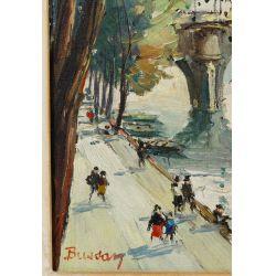 "View 3: Bussan (German, 20th Century) ""The Seine"" Oil on Canvas"