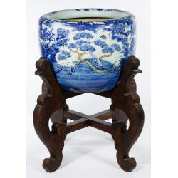View 2: Asian Vase on Wood Stand
