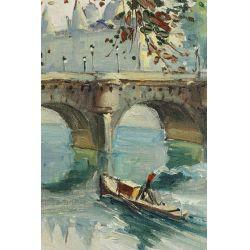 "View 2: Bussan (German, 20th Century) ""The Seine"" Oil on Canvas"