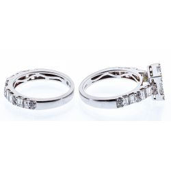 View 2: 18k White Gold and Cubic Zirconia Rings