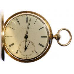 View 2: H Laval St Imier 14k Gold Hunter Case Pocket Watch