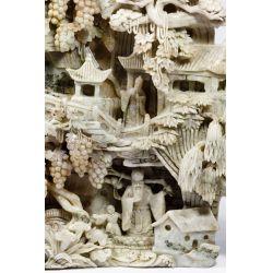 View 2: Asian Carved Jadeite Jade Scenic Panel