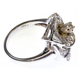 View 2: 14k White Gold and Diamond Calla Lily Ring