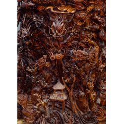 View 2: Chinese Carved Wood Vase On Stand