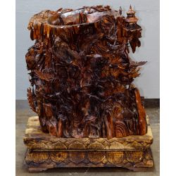 View 4: Chinese Carved Wood Vase On Stand