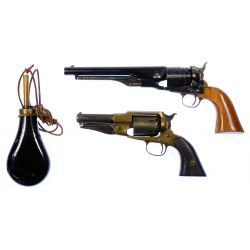 View 2: Black Powder Revolver and Powder Flask Assortment