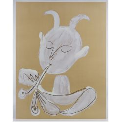 """View 2: (After) Pablo Picasso (Spanish, 1881-1973) """"Faun Playing Flute"""" Print"""