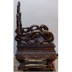 View 4: Chinese Victorian Carved Wood Throne Bench
