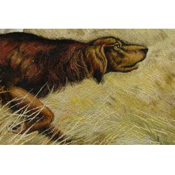 """View 3: Silk Embroidered """"Setter"""" Tapestry"""
