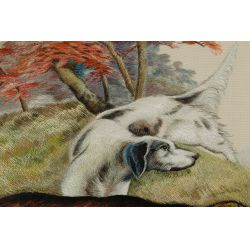 """View 2: Silk Embroidered """"Setter"""" Tapestry"""
