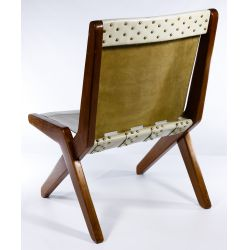 View 2: MCM Leather and Teak Chair