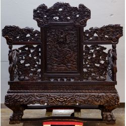 View 3: Chinese Victorian Carved Wood Throne Bench