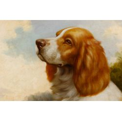 View 2: Jim Hutt (American, 20th Century) Brittany Spaniel Oil on Canvas