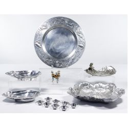 View 2: Achille Gamba Pewter Frog Platter and Frog Decor Assortment