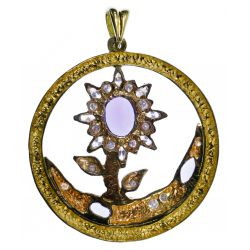 View 2: Ron Ray 18k Two-Color Gold, Tanzanite and Diamond Pendant