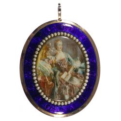 View 2: Miniature of Madame de Pompadour and Brass-Tone Pendant