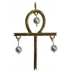 View 2: 14k Gold and Pearl Ankh Pendant