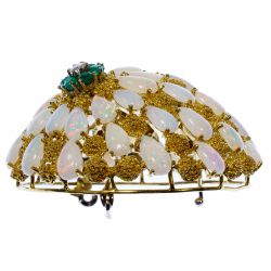 View 3: 18k Gold, Opal, Emerald and Diamond Brooch