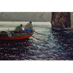 "View 2: Guido Odierna (Italian, 1913-1991) ""The Fishermen"" Oil on Canvas"