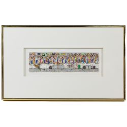 """View 2: James Rizzi (American, 1950-2011) """"Waiting on Line"""" Serigraph with Collage"""
