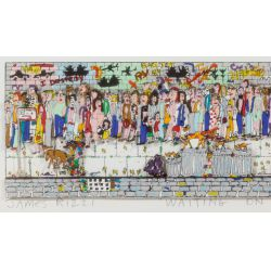 """View 3: James Rizzi (American, 1950-2011) """"Waiting on Line"""" Serigraph with Collage"""