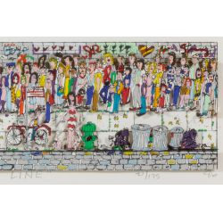 """View 4: James Rizzi (American, 1950-2011) """"Waiting on Line"""" Serigraph with Collage"""