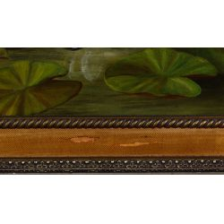 """View 5: Unknown Artist (American, 19th Century) """"Water Lilies"""" Oil on Canvas"""