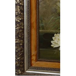 """View 4: Unknown Artist (American, 19th Century) """"Water Lilies"""" Oil on Canvas"""