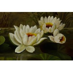 """View 2: Unknown Artist (American, 19th Century) """"Water Lilies"""" Oil on Canvas"""