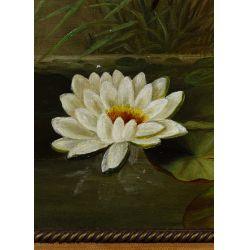 """View 3: Unknown Artist (American, 19th Century) """"Water Lilies"""" Oil on Canvas"""