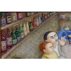 "View 3: Eduardo Ungar (Argentine, b.1947) ""El Bar II"" Acrylic on Masonite"