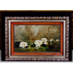 """View 9: Unknown Artist (American, 19th Century) """"Water Lilies"""" Oil on Canvas"""