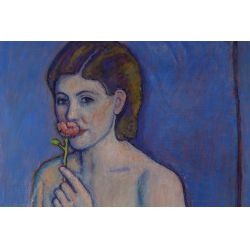 """View 2: Joseph Grossman (American, 1889-1979) """"Model with a Rose"""" Oil on Linen"""