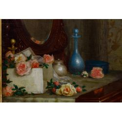 """View 3: De Scott (David) Evans (American, 1847-1898) """"Figure at the Vanity - Finishing Touch"""" Oil on Canvas"""