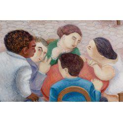 "View 2: Eduardo Ungar (Argentine, b.1947) ""El Bar II"" Acrylic on Masonite"