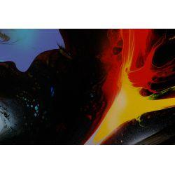 """View 2: Leonardo Nierman (Mexican / American, b.1932) """"Solar Flame"""" Oil on Masonite"""