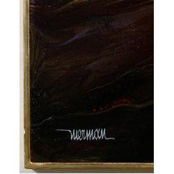 """View 3: Leonardo Nierman (Mexican / American, b.1932) """"Solar Flame"""" Oil on Masonite"""