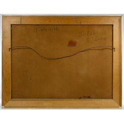 """View 4: Leonardo Nierman (Mexican / American, b.1932) """"Solar Flame"""" Oil on Masonite"""