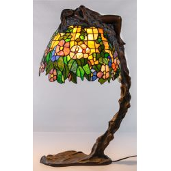 View 2: (After) Emil Thomasson (19th/20th Century) Bronze and Stained Glass Lamp