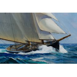 """View 2: Charles Vickery (American, 1913-1998) """"Steady Wind"""" Oil on Canvas"""