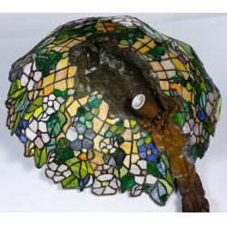 View 7: (After) Emil Thomasson (19th/20th Century) Bronze and Stained Glass Lamp