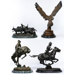 View 2: (After) Frederic Remington (American, 1861-1909) Bronze Statue Assortment