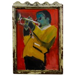 "View 2: Wayne Manns (American, 20th Century) ""The Man with the Horn"" Acrylic and Found Objects on Panel"