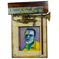 "View 3: Wayne Manns (American, 20th Century) ""The Man with the Horn"" Acrylic and Found Objects on Panel"